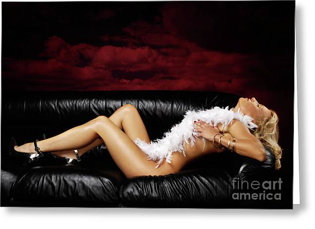 Apparel Greeting Cards - Beautiful Naked Woman on a Couch Greeting Card by Oleksiy Maksymenko