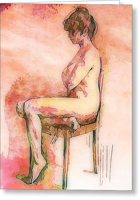 Earth Tones Drawings Greeting Cards - Beautiful Nude Woman Greeting Card by John Malone