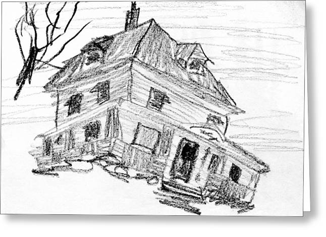 Sweat Drawings Greeting Cards - Beautiful older home in need of TLC Greeting Card by R Kyllo