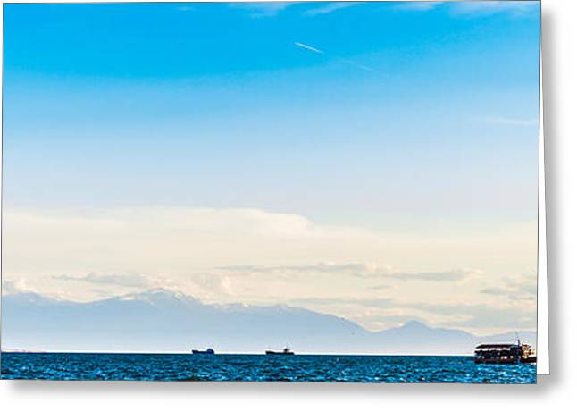 Sea Birds Greeting Cards - Beautiful panorama view of Olympus mountains in haze  from the A Greeting Card by Sergey Nazaryan