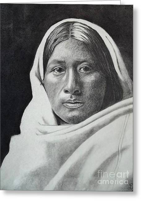 1907 Drawings Greeting Cards - Beautiful Papago Girl  Greeting Card by Lise PICHE
