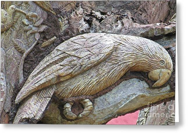 Animals Reliefs Greeting Cards - Beautiful Parrot Sculpture in Tree Greeting Card by John Malone