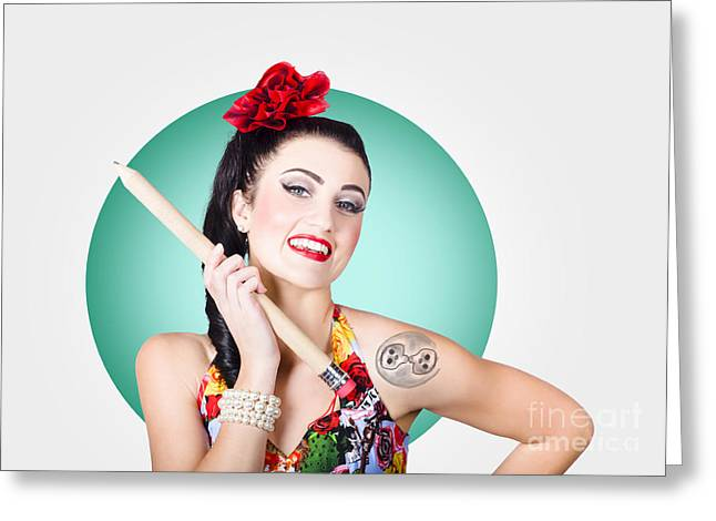 Beautiful Pin-up Girl Getting Skull Tattoo Stencil Greeting Card by Jorgo Photography - Wall Art Gallery