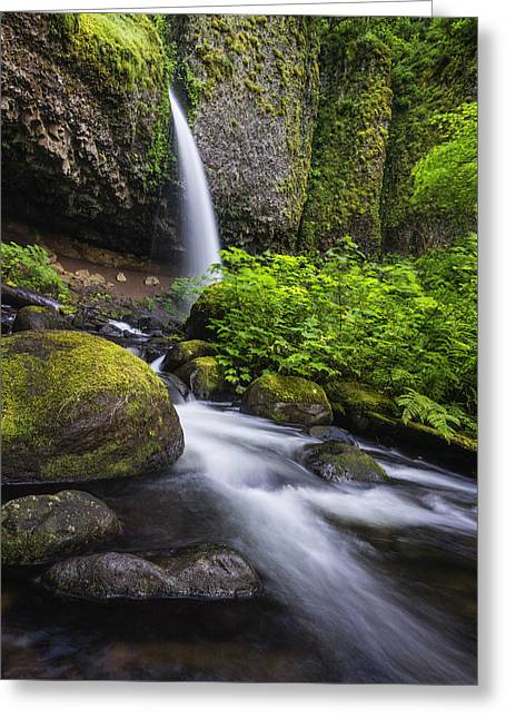 Falling Water Creek Greeting Cards - Beautiful Ponytail falls in Columbia River Gorge in Oregon Greeting Card by Vishwanath Bhat