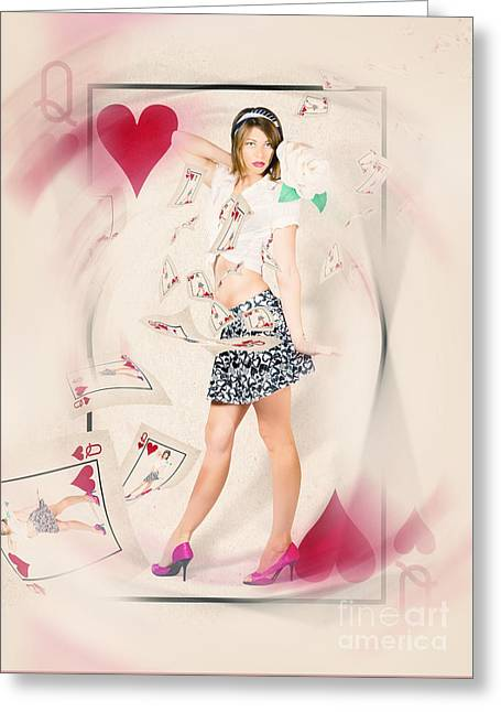 High Heels Abstract Art Greeting Cards - Beautiful queen of hearts playing card pin-up Greeting Card by Ryan Jorgensen