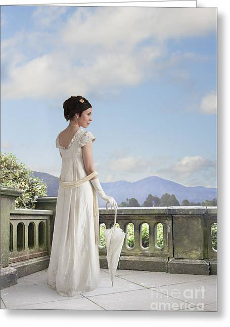 1820-30 Greeting Cards - Beautiful Regency Woman Admiring The View From The Terrace Greeting Card by Lee Avison