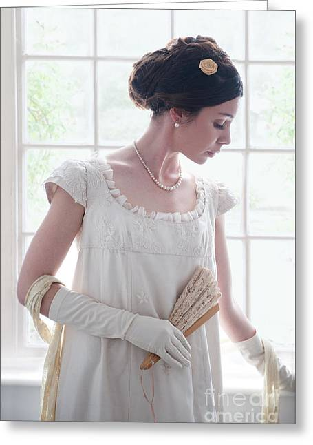 Puffed Sleeves Greeting Cards - Beautiful Regency Woman At The Window Greeting Card by Lee Avison