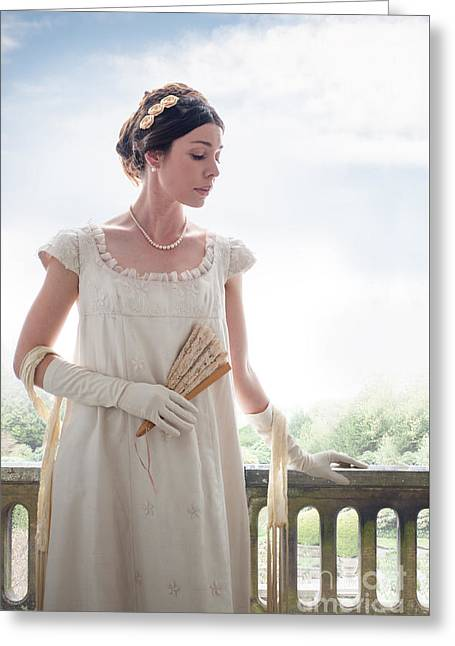 Puffed Sleeves Greeting Cards - Beautiful Regency Woman In The Garden Greeting Card by Lee Avison