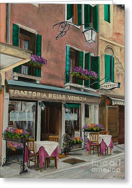Italian Cafe Greeting Cards - Beautiful Restaurant In Venice Greeting Card by Charlotte Blanchard