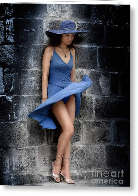 Elegancy Greeting Cards - Beautiful Romantic Woman Standing Near a Stone Wall Greeting Card by Oleksiy Maksymenko