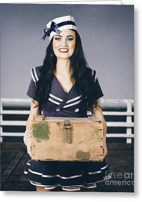 Beautiful Sailor Girl Holding Military Ammo Box Greeting Card by Jorgo Photography - Wall Art Gallery