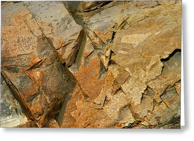 Abstractions Greeting Cards - Beautiful Scarred Rockface Greeting Card by Lynda Lehmann