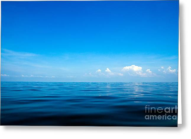 Beautiful Seascape With Blue Sea, Blue Sky And Cloud Background Greeting Card by Caio Caldas