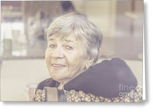 Gray Hair Greeting Cards - Beautiful senior woman looking content  Greeting Card by Ryan Jorgensen