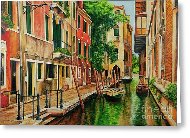 Beautiful Side Canal In Venice Greeting Card by Charlotte Blanchard