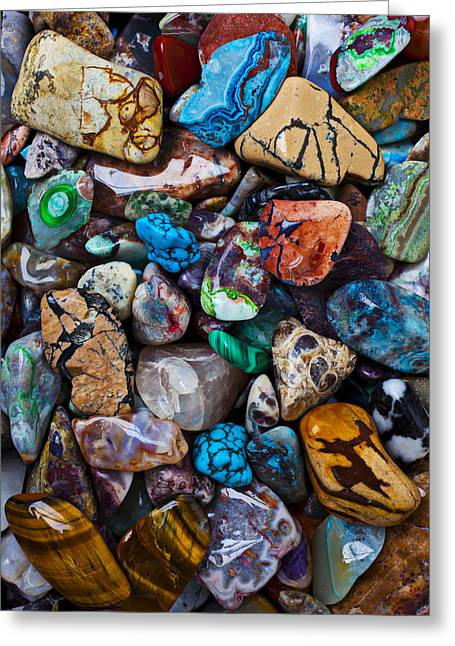 Colored Stones Greeting Cards - Beautiful Stones Greeting Card by Garry Gay