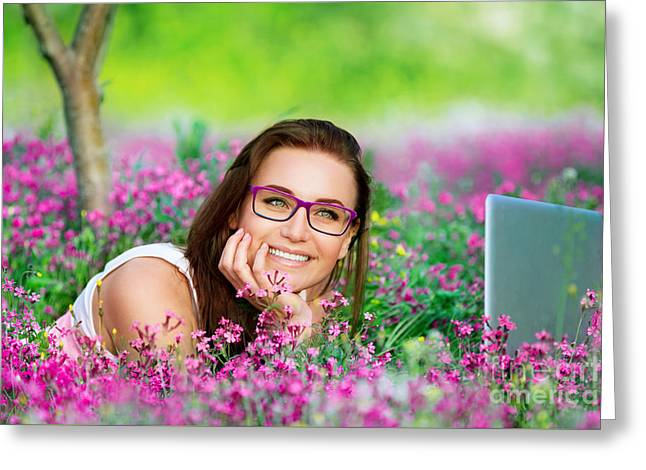 Nature Study Greeting Cards - Beautiful student working on laptop Greeting Card by Anna Omelchenko