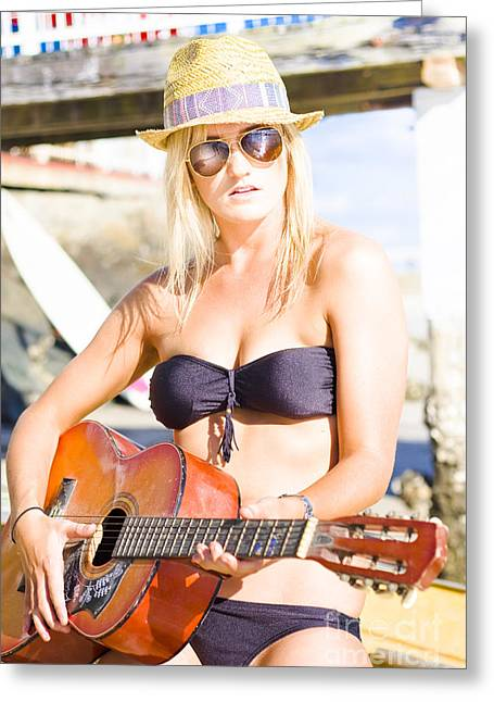 Satisfaction Greeting Cards - Beautiful Sunglasses Girl Playing Guitar Outdoors Greeting Card by Ryan Jorgensen