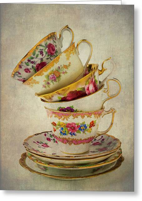 Beautiful Tea Cups Greeting Card by Garry Gay