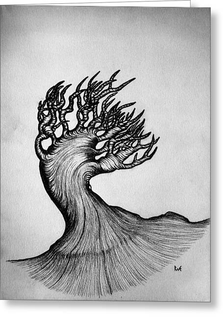 Pen And Paper Greeting Cards - Beautiful Tree Nature Original Black And White Pen Art By Rune Larsen Greeting Card by Rune Larsen