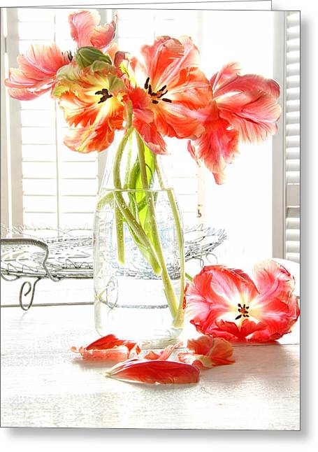 Glass Bottle Greeting Cards - Beautiful tulips in old milk bottle  Greeting Card by Sandra Cunningham
