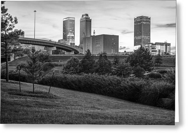 Exposure Greeting Cards - Beautiful Tulsa Oklahoma Black and White - Central Park Greeting Card by Gregory Ballos