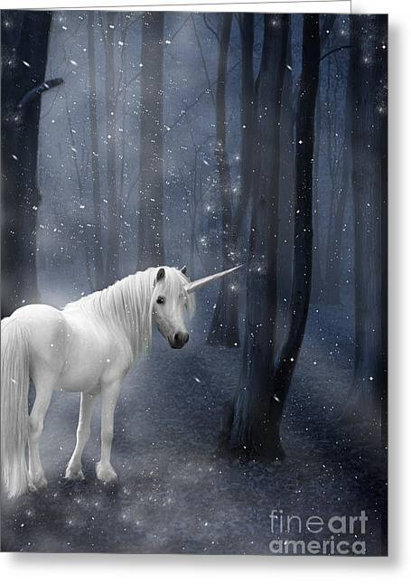 Best Sellers -  - Snowy Night Greeting Cards - Beautiful Unicorn in Snowy Forest Greeting Card by Ethiriel  Photography