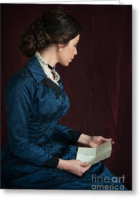 Braided Updo Greeting Cards - Beautiful Victorian Woman Reading A Letter Greeting Card by Lee Avison