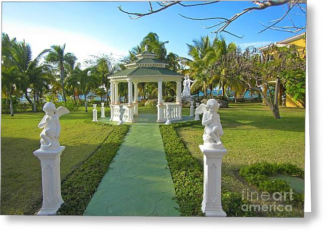 Grass Sculptures Greeting Cards - Beautiful Wedding Gazebo Greeting Card by John Malone