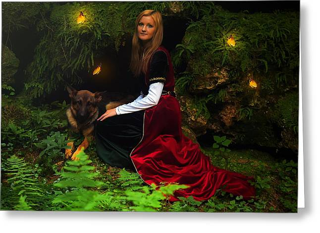 Flying Animal Greeting Cards - Beautiful Woman Fairy With Long Blonde Hair In A Historical Gown With Dog And Butterfly Greeting Card by Jozef Klopacka