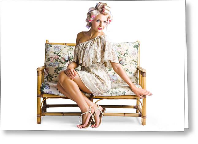Beautiful Woman On Couch Greeting Card by Jorgo Photography - Wall Art Gallery