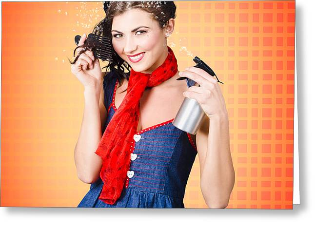 Hairstylists Greeting Cards - Beautiful woman using hair product to pin up hair Greeting Card by Ryan Jorgensen