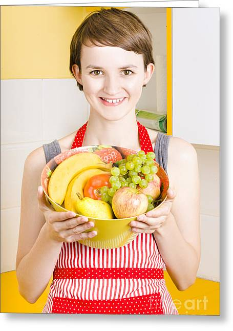 Youthful Greeting Cards - Beautiful woman with smile and fresh fruit bowl Greeting Card by Ryan Jorgensen