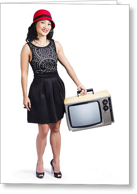 Cut-outs Greeting Cards - Beautiful woman with television Greeting Card by Ryan Jorgensen