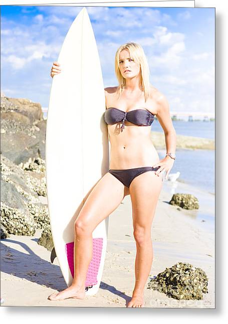 Wellbeing Greeting Cards - Beautiful Young Blond Surf Woman Greeting Card by Ryan Jorgensen