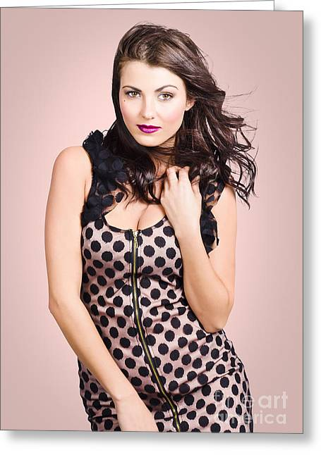 Evening Dress Greeting Cards - Beautiful young brunette girl styling luxury dress Greeting Card by Ryan Jorgensen