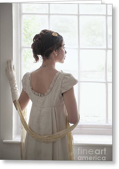 Puffed Sleeves Greeting Cards - Beautiful Young Regency Woman At The Window Greeting Card by Lee Avison