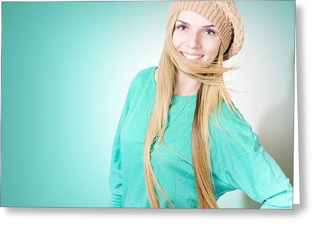 Charismatic Greeting Cards - Beautiful young winter woman with long blond hair Greeting Card by Ryan Jorgensen