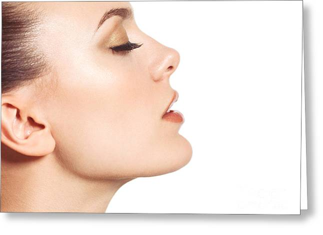 Eyelash Greeting Cards - Beautiful young woman face profile closeup Greeting Card by Oleksiy Maksymenko