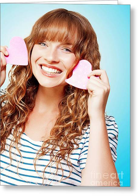 Pink Cheeks Greeting Cards - Beautiful Young Woman In A Love Heart Romance Greeting Card by Ryan Jorgensen