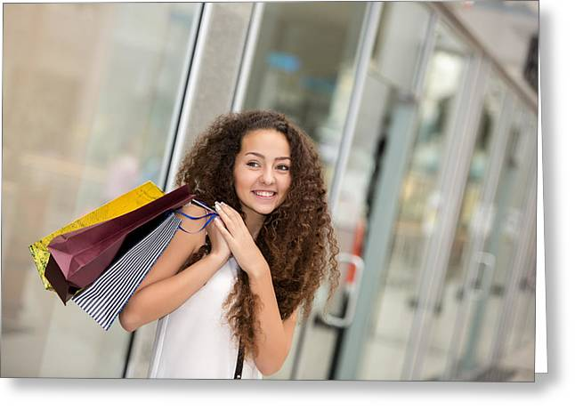 Purchase Greeting Cards - Beautiful Young Woman With A Shopping Bags In The Mall Greeting Card by Volodymyr Melnyk