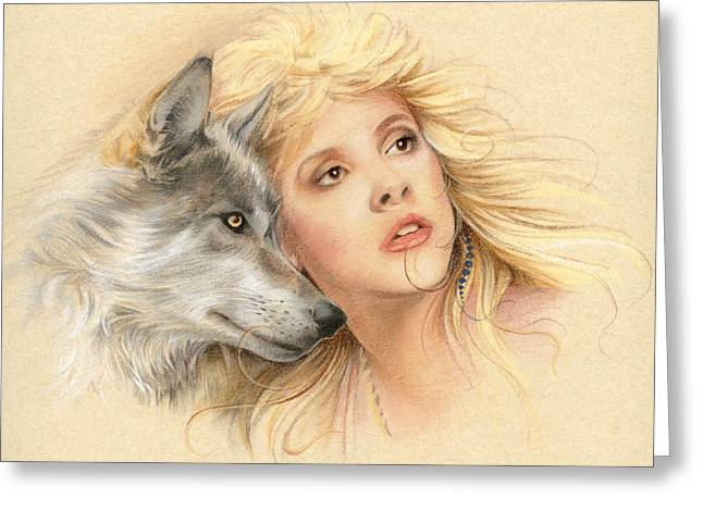 Wolf Portrait Greeting Cards - Beauty and the Beast Greeting Card by Johanna Pieterman