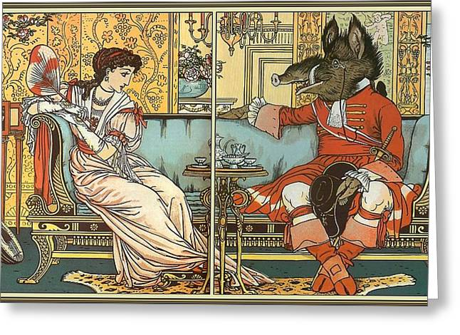 Beauty And The Beast Greeting Card by Walter Crane