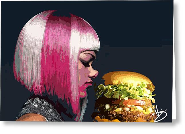 Beverage Greeting Cards - Beauty and The Burger Greeting Card by Moxxy Simmons