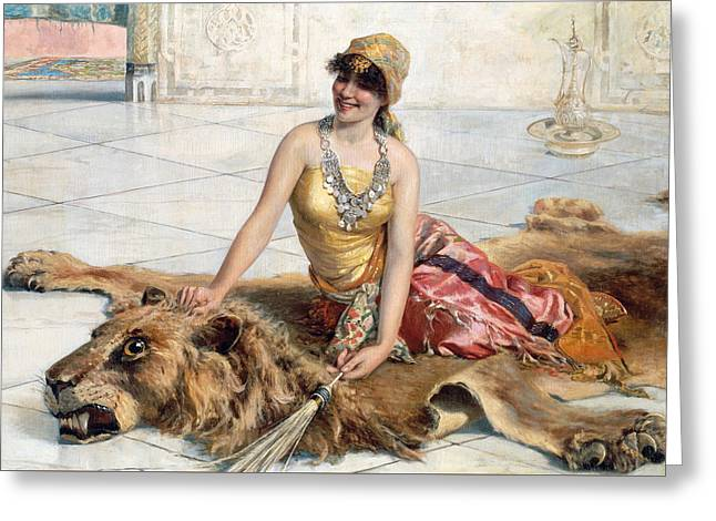 Beauty From The Harem Greeting Card by Adolfo Belimbau