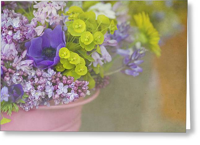 Beauty In A Bucket Greeting Card by Rebecca Cozart