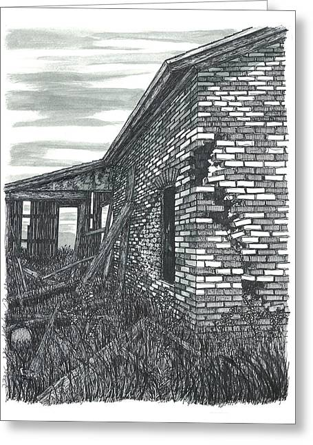 Abandoned Houses Drawings Greeting Cards - Beauty in Decay Greeting Card by Jonathan Baldock