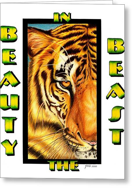 Colour Pencil Greeting Cards - Beauty in the Beast Greeting Card by Sheryl Unwin