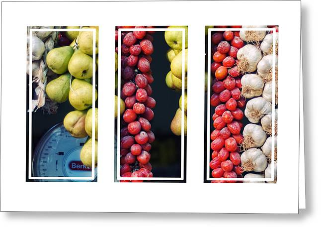 Italian Market Greeting Cards - Beauty in tomatoes garlic and pears triptych Greeting Card by Silvia Ganora
