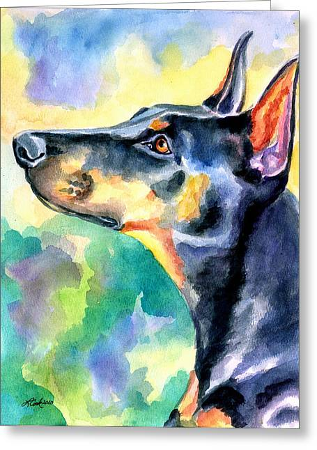 Doberman Pinscher Puppy Greeting Cards - Beauty Greeting Card by Lyn Cook